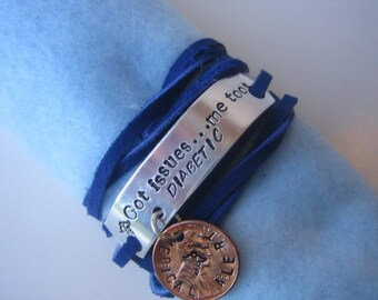 Hand Stamped - Royal Blue Leather Lace Wrap Medical Alert Bracelet - Got Issues - Me too - Simple ID Bracelet - Diabetic, Heart Disease, etc