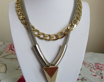 Super chunky 80s style necklace gold and snake chain pendant