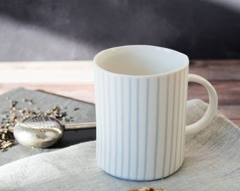 striped minimal coffee/tea mug handmade from stained porcelain