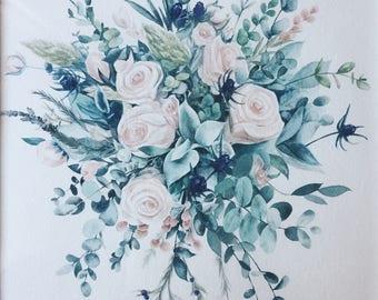 Custom Wedding Bouquet Watcolor Painting Anniversary Gift 11x14''