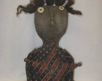 "Tabitha and Her Star Primitive 18"" Black Doll Americana IMMEDIATELY DOWNLOADABLE E-PATTERN"