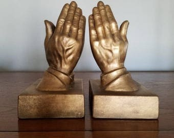 Praying Hands/ Chalkware/ Gold statues/ Bookends