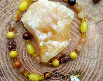 Solar Plexus chakra, Manipura, gemstone double wrap bracelet