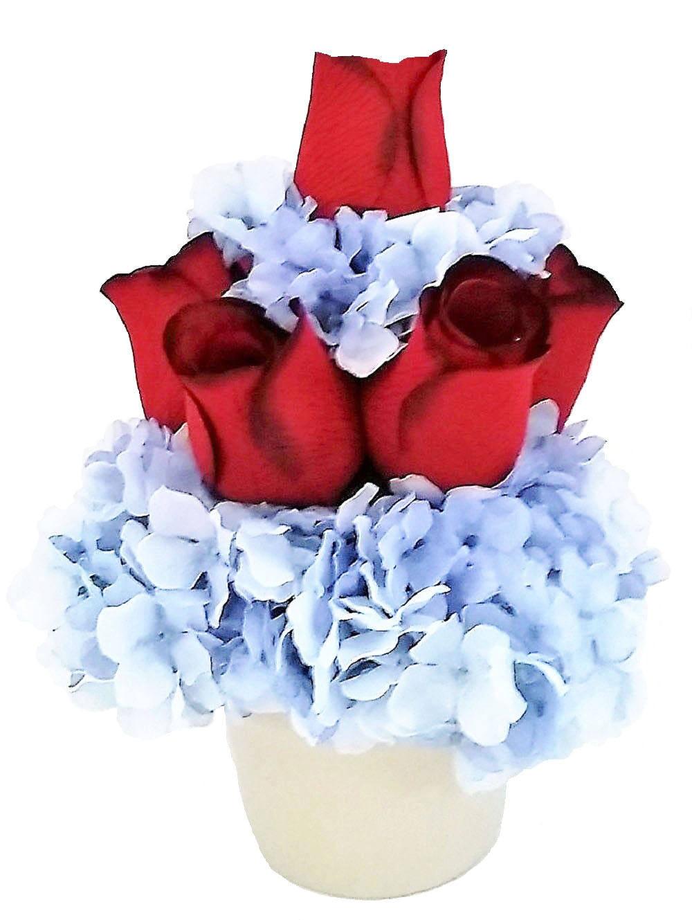 Red roses blue hydrangeas silk flower arrangement artificial gallery photo gallery photo mightylinksfo