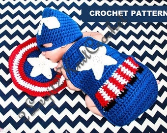 Crochet Pattern Inspired by Captain America Newborn Photo Prop Outfit