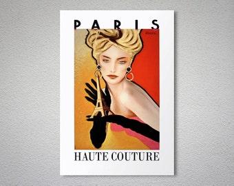 Paris Haute Couture - France - Fashion Poster - Poster Print, Sticker or Canvas / Gift Idea