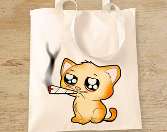 Cat Smoking Weed Tote Bag, Anime Kitten Pot Leaf Shopping Bag, Stoner Gift, Cannabis Reusable Grocery Bag, Dope Folding Shoulder Bag