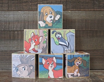 Storybook Blocks / The Fox and the Hound / Baby Blocks / Disney / Storybook Baby Shower / Hunting Baby Shower / Baby Shower Decorations