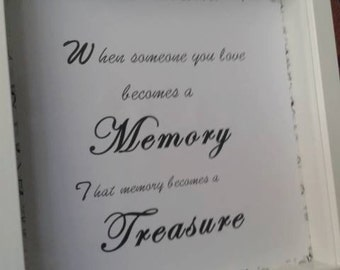 In memory of a dear one,with sentimental wording in a boxed frame.