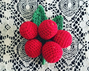 1950's crochet vintage cherry pin