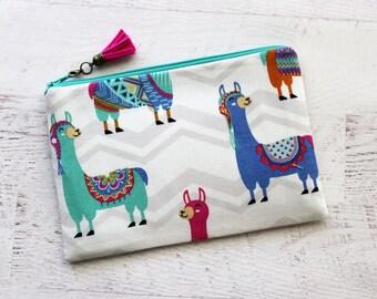 Llama make up bag - llama cosmetics bag - cute make up bag - tassel charm - llama drama bag - alpaca bag - planner accessories bag - llamas