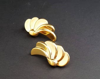 Vintage Monet, Gold Angel Wings, Clip On Earrings