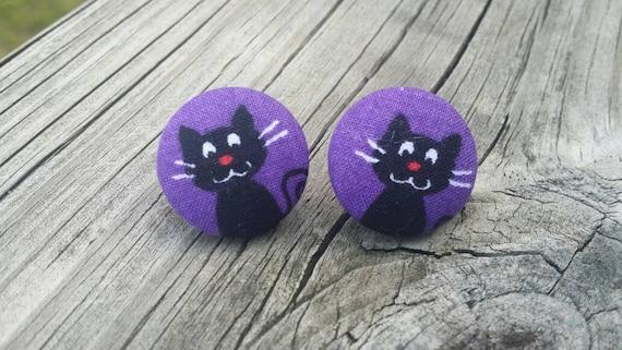 Button Earrings, Cat Earrings, Fashion Jewelry, Costume Jewelry, Fabric Earrings, Round Earrings, Fall Earrings, Halloween Earrings