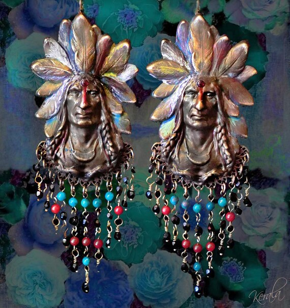 Red Chandelier India: Antique Indian Head Long Beaded Chandelier Earrings Red