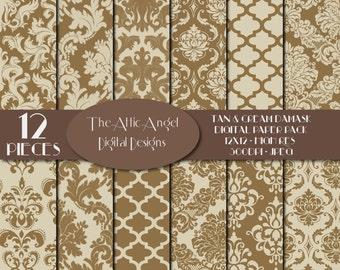 SALE -  Cream and Brown Damask Digital Paper, Wedding Bridal Quatrefoil, Fancy Patterned Paper, Flowers, Digital Supplies Instant Download