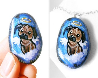 Dog Necklace, Pug Art, Memorial Jewelry, Pet Loss, Guardian Angel Pendant, Sympathy Gift, Pet Painting, Dog Portrait Stone, Hand Painted