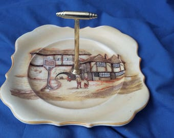 Vintage 'Jolly Drover' Handles Sandwich Cake Plate.