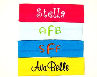 Set of 4 Monogrammed Headbands - 20 Different Colors of Headbands to Choose From