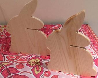 Easter Bunnies. Chicks on Sticks. Chicks to decorate. Easter. Bunnies to decorate. Decoupage. Wood chicks and Bunnies to paint. Easter craft