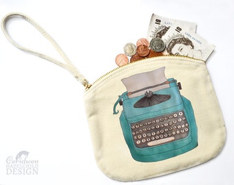 Typewriter Canvas Zip Bag, Makeup Bag, Coin Purse, Small Accessory Pouch, Stocking Filler, Typewriter Print