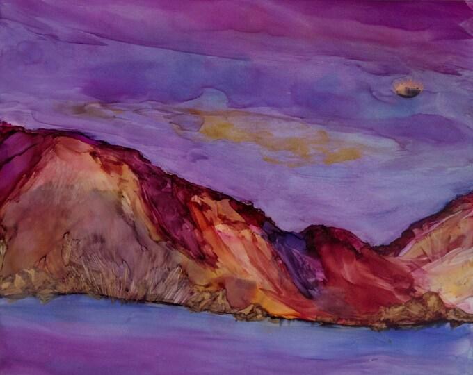 Mountain Lake Art-Night Sky Painting-Purple Decor-Bohemian Decor-Cottage Decor-Watercolor Landscape-Home Decor Gifts-Watercolor Home Decor