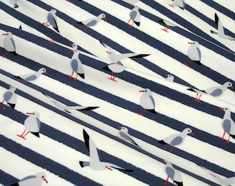 Jersey Little Darling seagulls on white blue striped 0.54yd (0,5m)