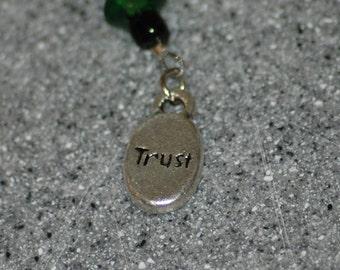 Green Trust key chain/zipper pull/charm