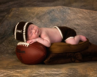 Football Outfit, Football Hat, Game Day Outfit, Baby Boy Outfit, New Baby Outfit, Newborn Photo Prop, Baby Football Hat, Crochet Baby Hat
