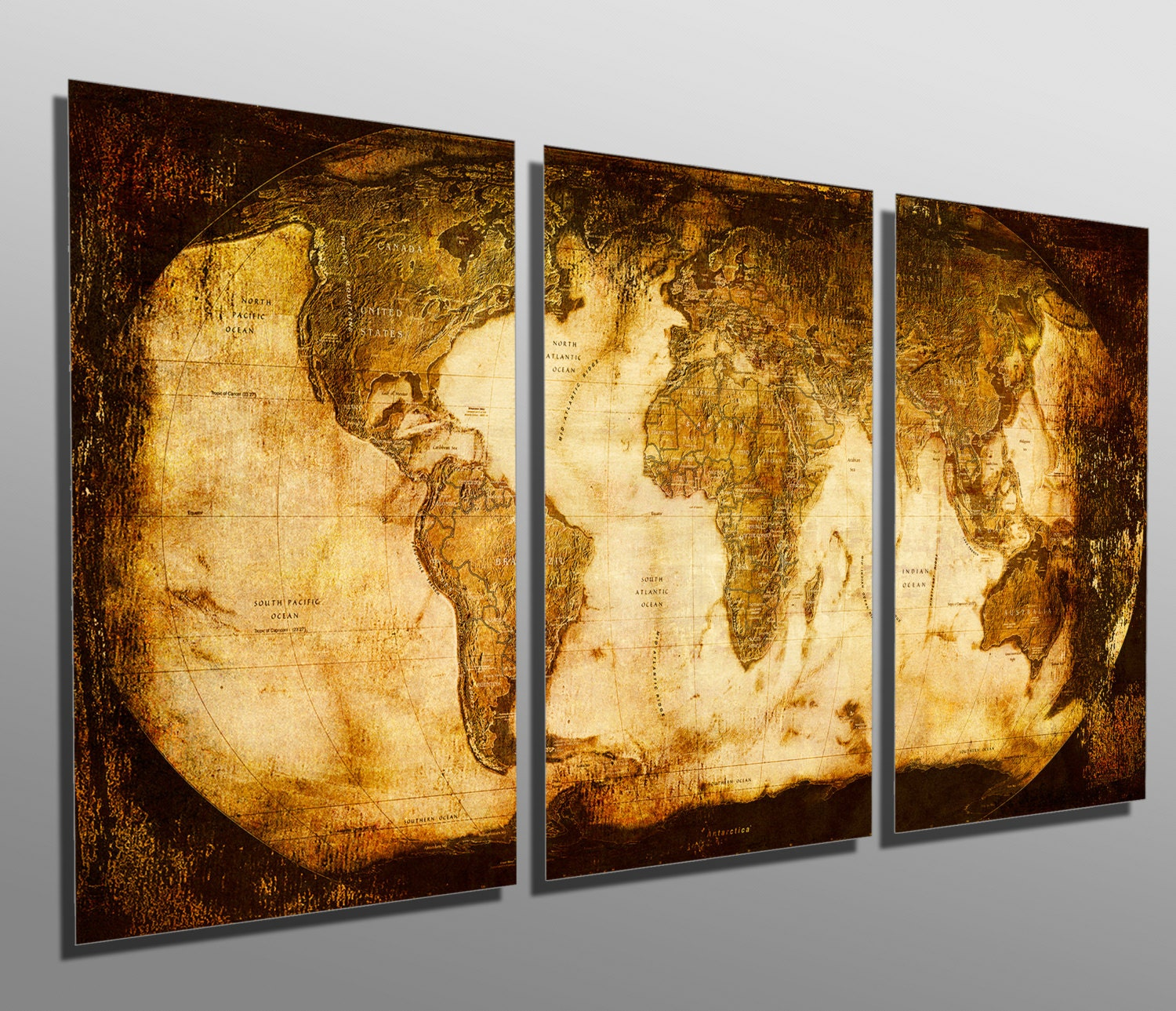 Metal Prints Rustic World Map 3 Panel split Triptych