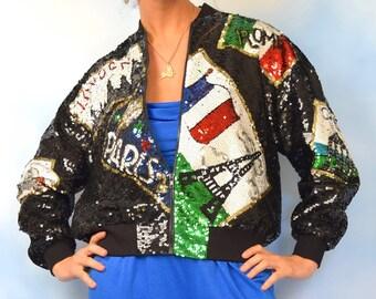 Vintage 90s European Travel Novelty Sequined Silk Bomber Jacket