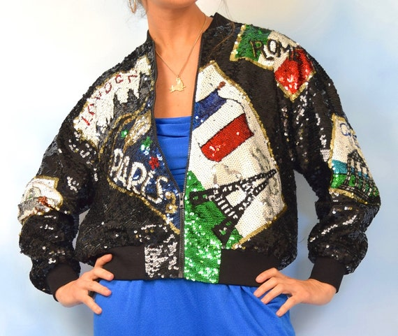 Vintage 90s European Travel Novelty Sequined Silk Bomber Jacket