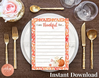 I am Thankful For Thanksgiving Cards INSTANT DOWNLOAD | Thanksgiving Table Décor | Thanksgiving Game | Thanksgiving Thanks Gratitude Cards