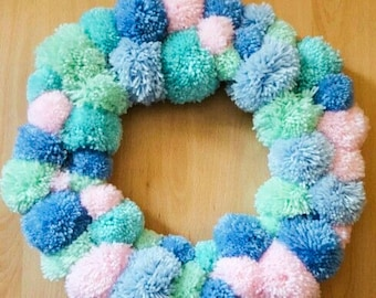 pompom,wreath,love, fluffy, circle,wall hanging, wall plaque, wall tapestry,pink,green and blue,   pompoms.wall hanging,home decor