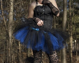 Layered two tone tutu skirt gothic adult dance Black and royal blue rave club wear race run gogo  -- You choose size -- Sisters of the Moon