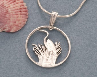 """Sterling Silver Blue Heron Pendant and Necklace, Hand Cut Blue Heron Coin Jewelry Pendant,  3/4"""" in Diameter, ( # 231S )"""