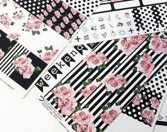 Black and White Floral | Stickers
