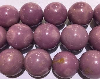 "Genuine Phosphosiderite Smooth Round Loose Beads Size 18mm 15.5"" Long"