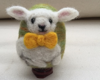 Needle felted Easter egg- Easter lamb with yellow bow