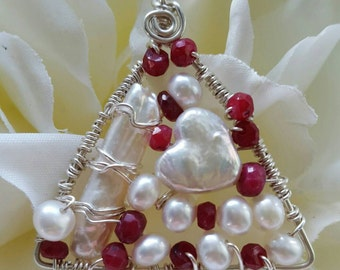 Wire wrapped Sterling silver one-of-a-kind Ruby Pearl Triangle Pendant