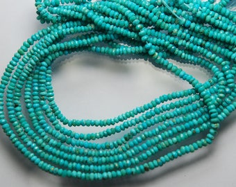 13.5 Inches, Strand, Super Great Quality, Natural Arizona Sleeping Beauty Turquoise Rondelles, 3-3.5mm