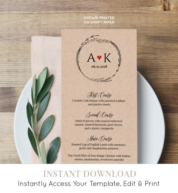 Rustic Menu Card Template, Printable Wedding Menu, Wreath Dinner Party Menu, DIY Menu, Instant Download, 100% Editable, Digital  #022-115WM