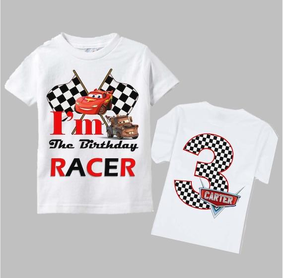 Disney Cars camiseta para cumpleaños doble cara cuadros