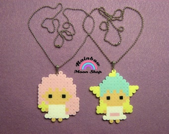 LITTLE TWIN STARS Inspired Necklaces and Keychains // Kawaii, Fairy Kei, Lolita, Cute Pastel Perler Hama Beads