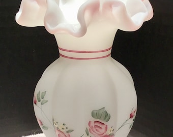 Fenton Art Glass Hand Painted Ruffle Vase Signed By Artist