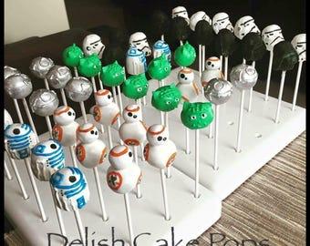 Star Wars Cake Pops. Yoda, Storm trooper, Darth Vader, Death Star, R2D2 & BB8