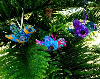 Christmas Batik Bird Ornaments Brightly Colored Three Dimensional Stuffed Orange Blue Pink Aqua Cindy's Peeps Set of Three