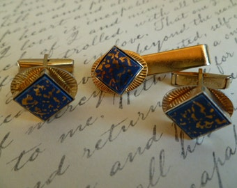 Vintage Cuff Links and Clip, Henry Avedon Gold and Blue Cufflink and Tie Clip Set, Blue and Gold Confetti  MCM Style
