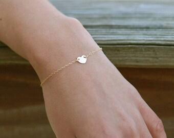 Dainty Heart Bracelet, Personalized Initial Bracelet, Flower Girl Gift, Childs Bracelet, Stacking Bracelet, 14k GF, RG, S/S