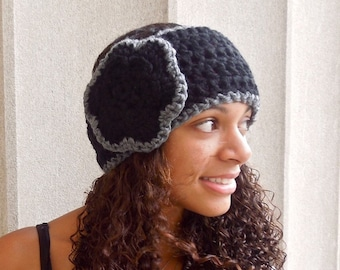 Crochet Headband, Flower Headband, Ear Warmer, Crochet, Black, Gray, Women,Teen, Chunky,,
