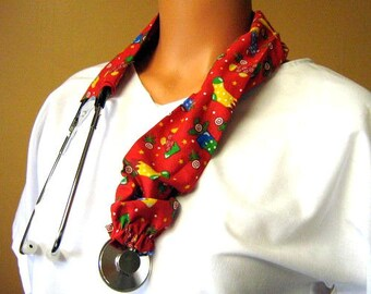 STETHOSCOPE COVER Christmas Stockings on Red